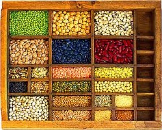 A case of assorted legumes.