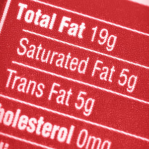 A nutrition label of total fat content.