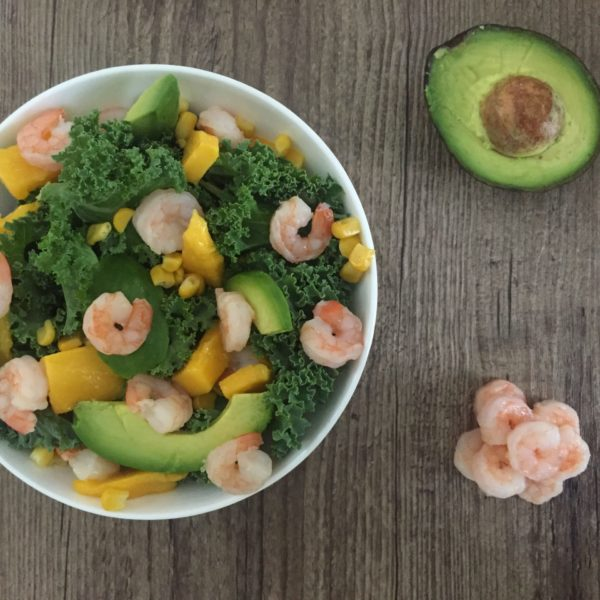 Kale Salad with Mango and Spicy Prawns