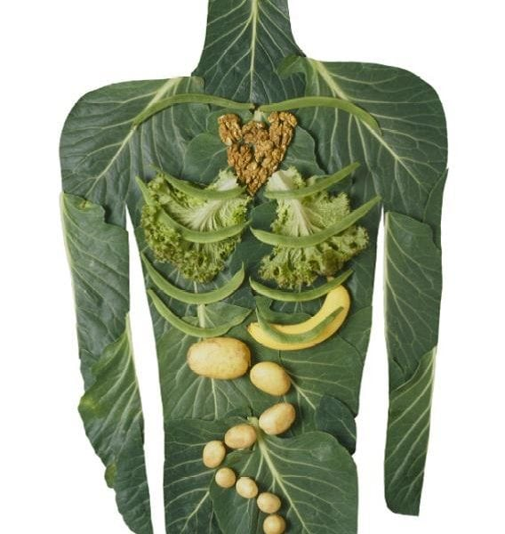 The shape of the human body made entirely out of greens and fruit.