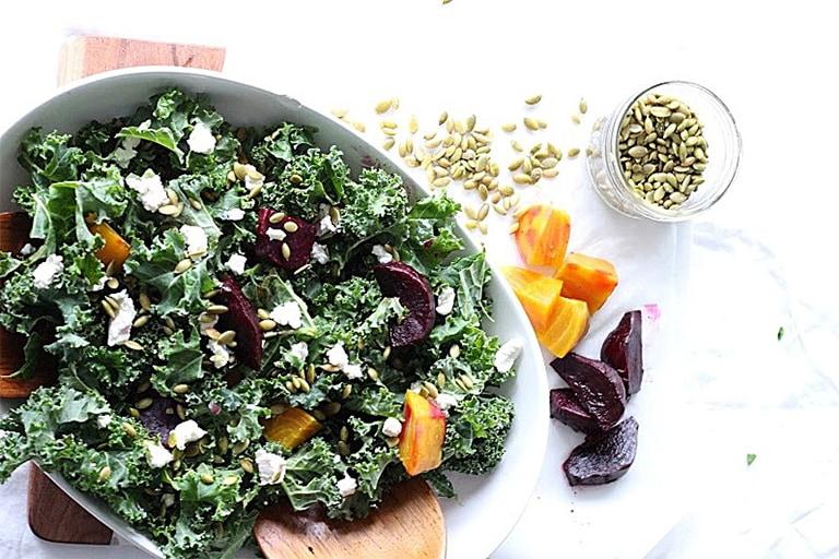 Roasted Beet and Kale Salad with Goat Cheese and Lemon Tahini Dressing