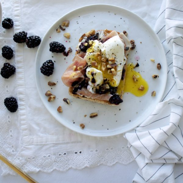 Blackberry Ricotta Toast with Poached Egg and Toasted Walnuts