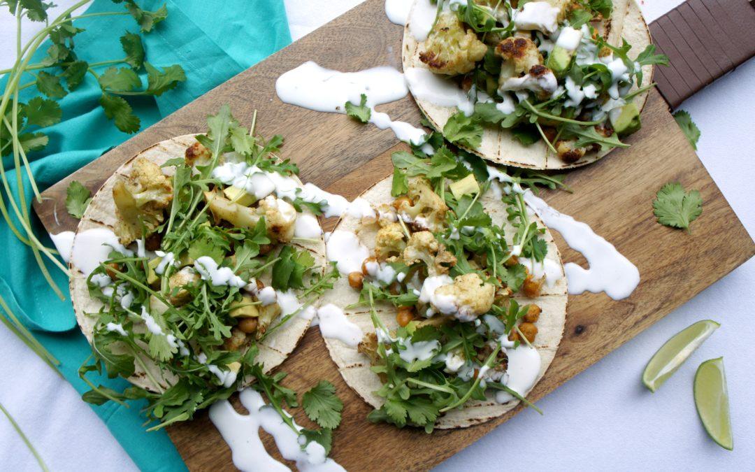 Crunchy Roasted Cauliflower Chickpea Tacos + LJ.COM Special Spring Offer
