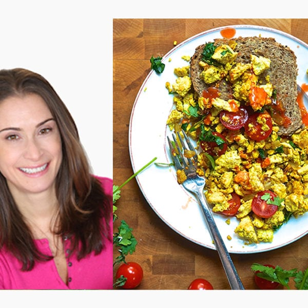 Registered Dietitian Abby Langer and a photo of Tofu Scramble on a white round plate.