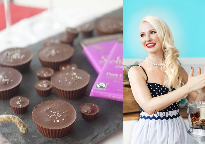 Registered Dietitian Abby Sharp and Healthy Homemade Peanut Butter Cups with Banana and Dark Chocolate.