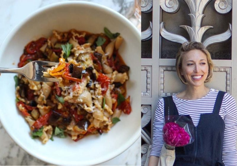 Miranda Hammer, Registered Dietitian + Slow Roasted Tomato and Eggplant Pasta in a white round bowl.