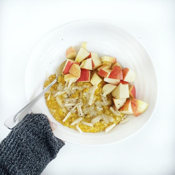 Savory Oats 3 Ways: Pizza Oats, Golden Oats with Apple and Cheddar and Vegetable Oat Risotto with Poached Eggs