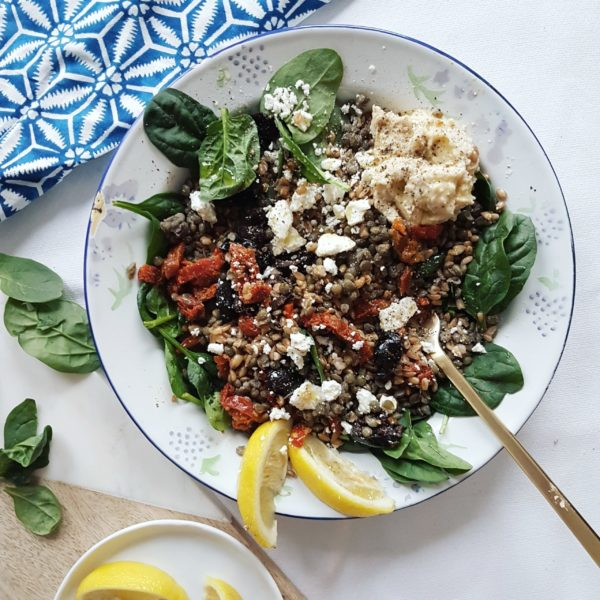 Mediterranean Farro and Green Lentil GRAIN Bowl with Feta, Olives and Sundried Tomatoes