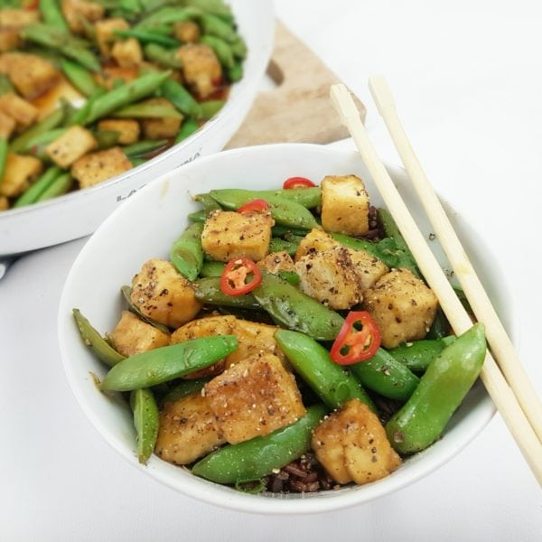 Crispy Black Pepper and Maple Tofu and Snap Pea Stir-Fry