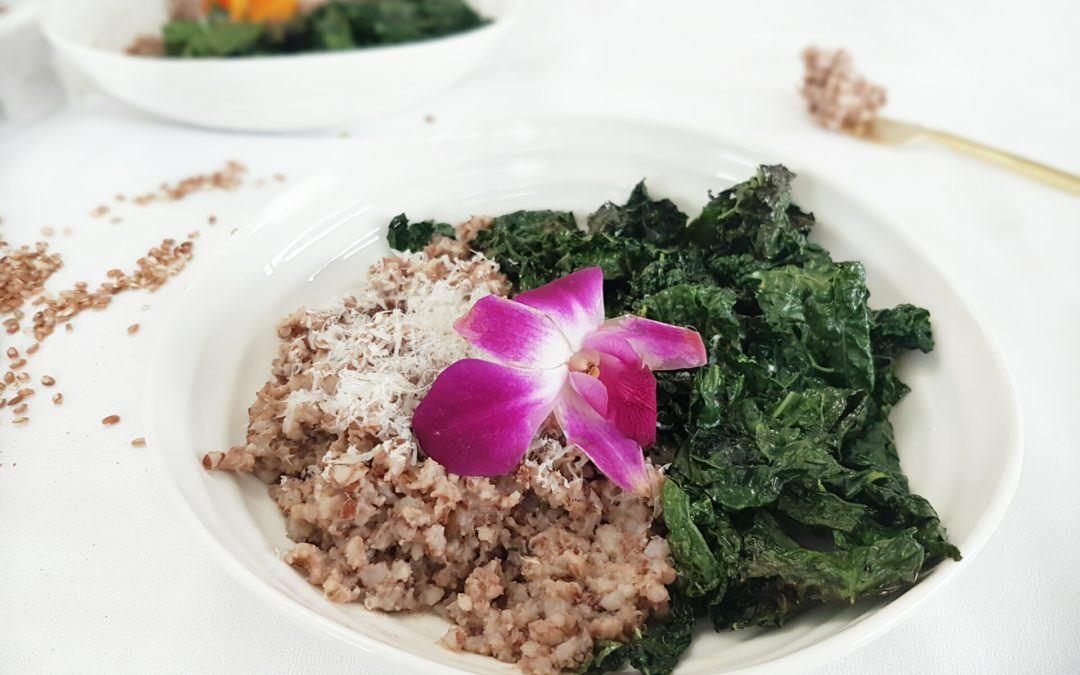Easy Baked Brown Rice Lemongrass Risotto with Roasted Kale