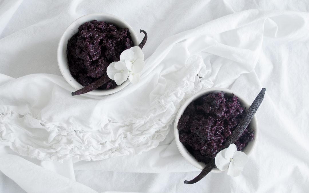 Creamy Vanilla Bean Violet Rice Pudding