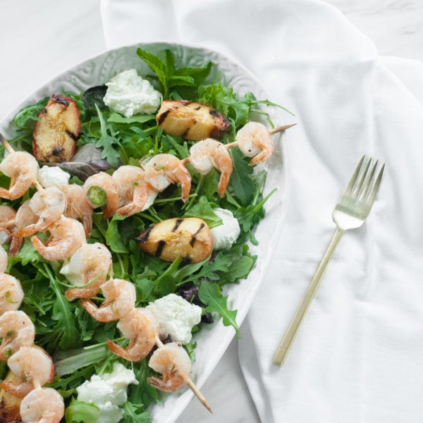 Grilled Peach and Fresh Mozzarella Salad with Jalapeno Shrimp Skewers