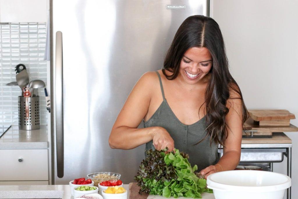 Lindsay Pleskot Registered Dietitian Cutting Inspired Greens Living Lettuce