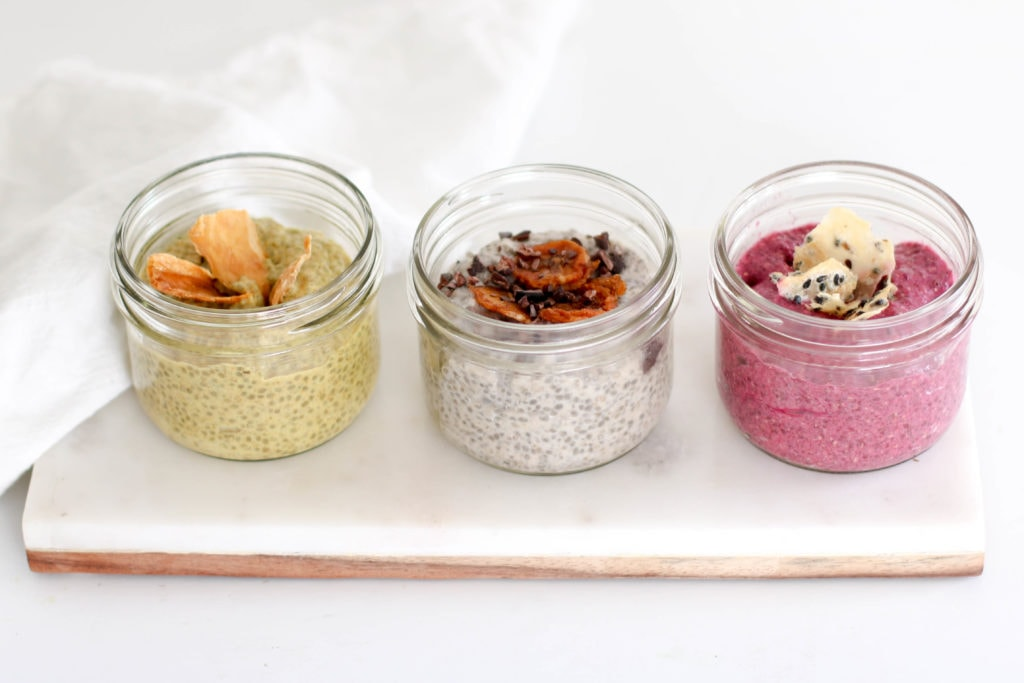 3 Types of Chia Puddings in Mason Jars: Banana Cream Pie, Golden Milk & Red Dragon