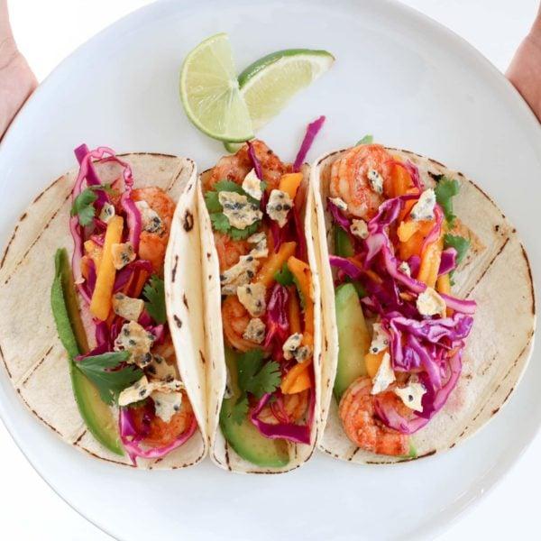 Shrimp and Dragon Fruit Street Tacos