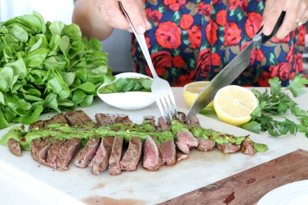 Skirt steak with Chimichurri Sauce and Inspired Greens Living Lettuce