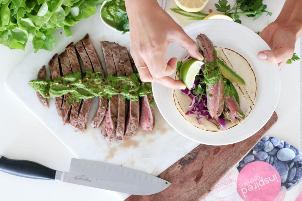 Skirt Steak Taco with Cabbage and Chimichurri Sauce