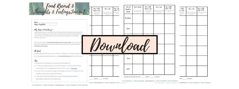 Free Template - Food Record with Thoughts & Feelings Journal