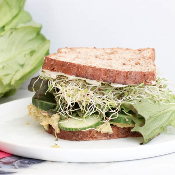 High protein sandwich on a white plate loaded with chickpeas, sprouts, cucumber, lettuce and avocado.