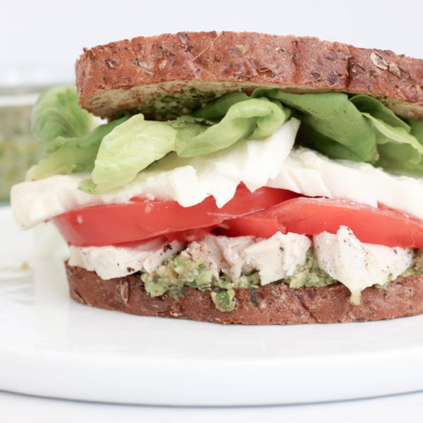 5 Minute Caprese Pesto Chicken Sandwich