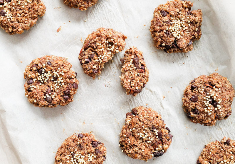 Carrot Cake Breakfast Cookies fresh out of the oven on a baking sheet made by registered dietitian lindsay pleskot