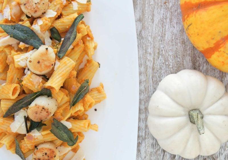 Creamy Pumpkin Sage Pasta with Seared Scallops