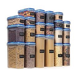 Dry foods storage containers against a white background