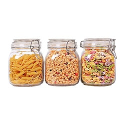 Glass canister storage set with a white background