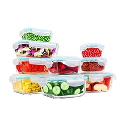 Glass storage container set with a white background