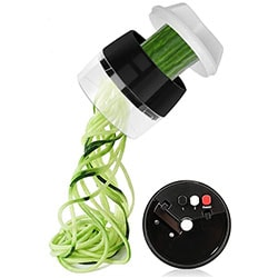 Hand held spiralizer with a white background