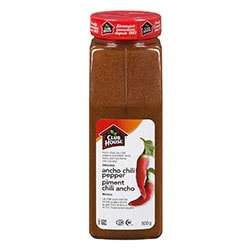 Ancho chilli powder with a white background