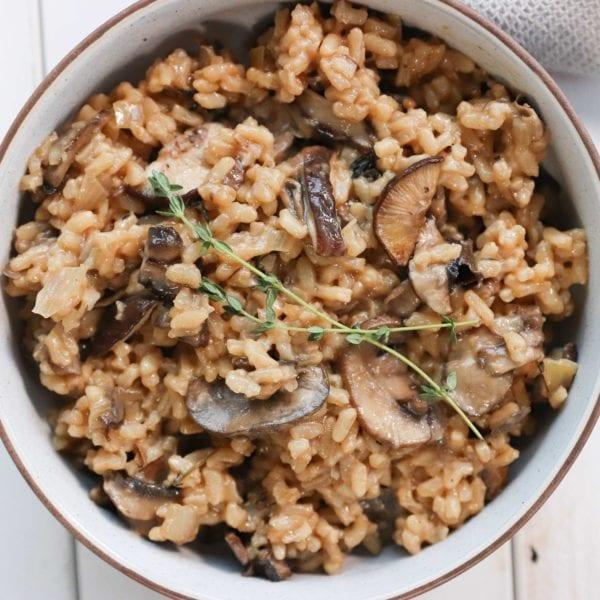 Healthy Baked Mushroom Risotto (Vegan Option)