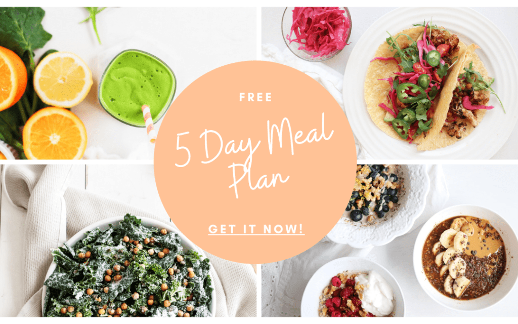 Layout of 4 food images with text overlay for free 5 day meal plan