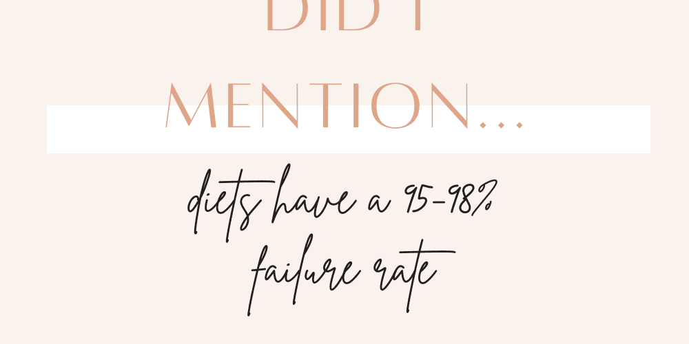a quote sharing that diets have a 95-98% failure rate