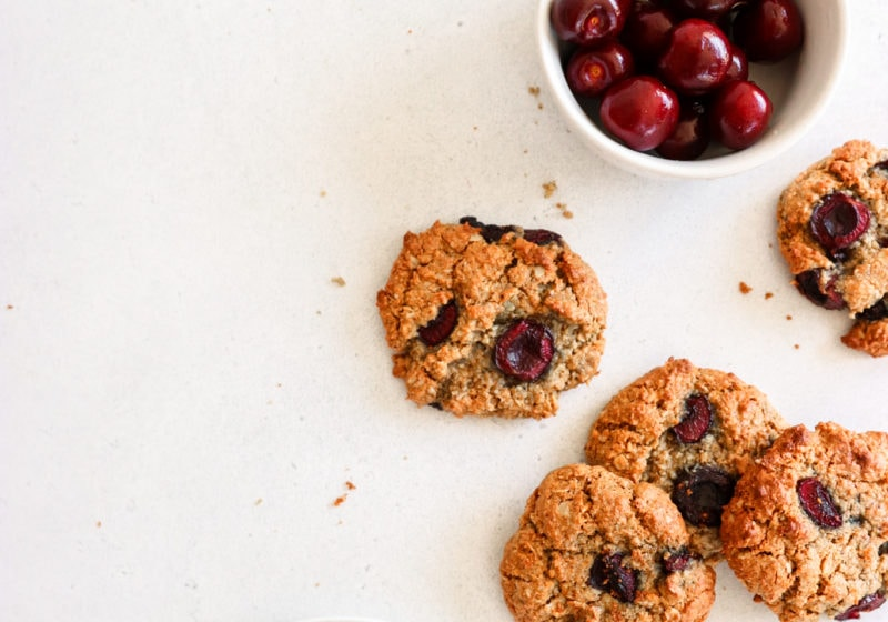 Delicious cherry oat almond butter cookie recipe by Lindsay Pleskot, registered dietitian